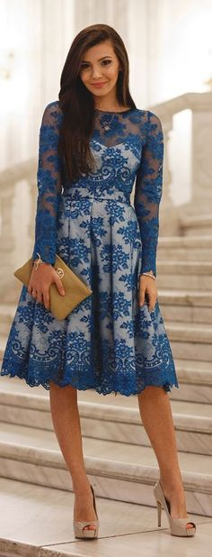 Blue and White Lace Dress - love that this has color, lace, sleeves and a flare shape.