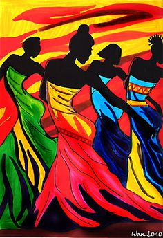 Today, I want to share with you my love with African Art mainly in the painting. I really love this kind of art first because of the colors. As we can see they mostly use the primary colors:red, bl… African American Art, African Women, Afrique Art, African Paintings, Art Africain, Black Artwork, Afro Art, Black Women Art, Female Art