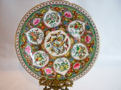 Pink Green and Gold Butterfly Hand Painted Plate by oldandnew8, $20.00