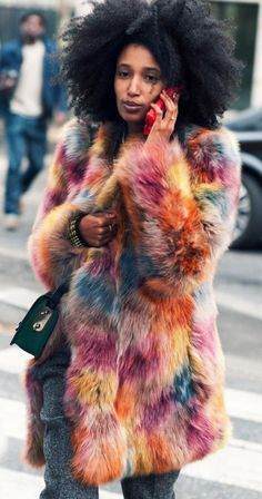 colorful pastel fur coat