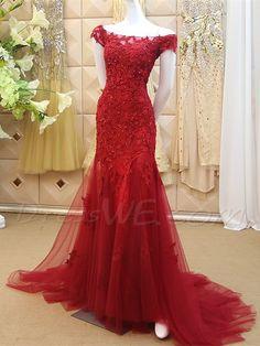 Buy Off The Shoulder Applique Beaded Zipper Up Back Mermaid Long Evening Dress Online, Dresswe.Com offer high quality fashion,Price: USD$184.29