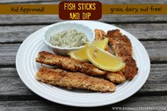 Fish Sticks with Lemon Dill Dipping Sauce  @Primally Inspired