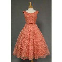 Salmon Lace 1950's Cocktail Dress w/ Satin Cords VINTAGEOUS ...