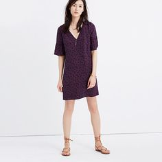 Silk Bell-Sleeve Dress in Painted Clover