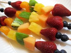 This colorful fruit kabobs recipe from Food.com proves that everything tastes better served on a stick. A great dessert for summer parties!