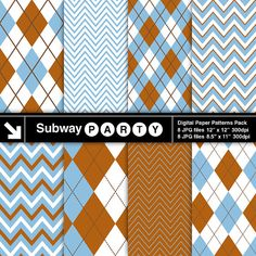 Baby Blue, Brown and White Chevron & Argyle Patterns Digital Papers Pack. Scrapbook / Invites DIY 8x11 and 12x12 jpg by subwayParty.Etsy.com #babyShower, #partyprintables, #digitalpaper, #scrapbook, #digiscrap, #teddybear