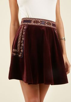 Stop everything and take this skater skirt for a spin! With gold-and-navy geometric embroidery stitched into its beautifully burgundy velvet, this pull-on mini commands your complete focus, ensuring its status as the sole statement-maker of your ensemble. Boho Fashion, Vintage Fashion, Fashion Outfits, Fashion Design, Dress Fashion, Navy Dress Outfits, Dresses, Pretty Outfits, Cute Outfits