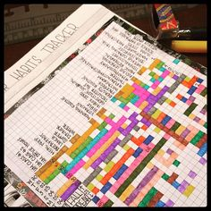 Day 20 • Using Color #bulletjournal #planwithmechallenge  Prior to this month, I was using color by writing with one specific color each day and repeating colors when a new page spread started.  This month, because I was implementing the monthly tracker, I decided to use black ink for everything, with 31 different colors for each day of the month. You can see how the color sometimes crosses over into other days on my tracker (and on my daily logs, too). I'm obviously a marathon Facebooker…