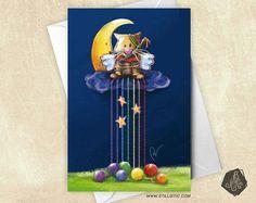 Carte de voeux Chaton Lune et pelotes arc-en-ciel Illustration