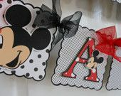 Mickey  or Minnie Mouse Birthday  Banner with Name