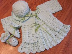 Handmade Pastel Green Baby Crochet Dress, Jacket / Sweater , Booties and  Hat set (6 month - 18 month)