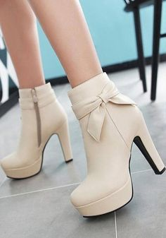b22b474ad2059a Buy Beige Round Toe Chunky Bow Add Feathers Fashion Ankle Boots online with  cheap prices and