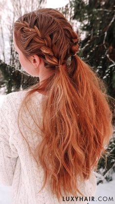 Classic Strawberry Blonde Clip-Ins - Golden blonde and red undertones come together in this multi-dimensional, girl-next-door shade. Excerpt Length: inches faq how-do-i-choose-the-right-luxy-hair-set how-do-i-choose-the-right-color-of-red-extensions. Trendy Hairstyles, Braided Hairstyles, Hair Extension Hairstyles, Picture Day Hairstyles, Redhead Hairstyles, Athletic Hairstyles, Gorgeous Hairstyles, Straight Hairstyles, Blonde Hair Goals