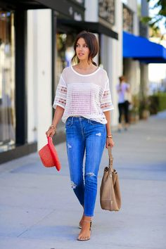 crochet top with jeans and drawstring bucket bag