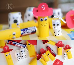 Fire safety finger puppet...with life saver surprise...i love the idea of the kids making them for community helpers week