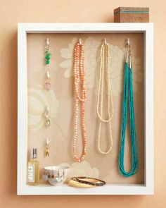 Some baubles are just too pretty to put away at the end of the day. But with a jewelry holder and display case made from a basic shadow box, you'll have less clutter, more chances to admire your favorite pieces, and everything within reach. Home Organisation, Jewelry Organization, Organizing Solutions, Organization Ideas, Bedroom Organization, Organizing Crafts, Storage Solutions, Diy Schmuck, Schmuck Design