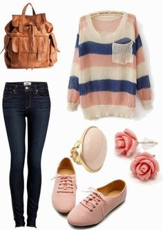 Casual Fall Outfit With Stripes Sweater and Handbag