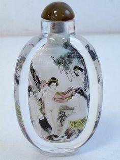 shopgoodwill.com: Vtg Hand Painted Nude Asian Women Art Glass Bottle