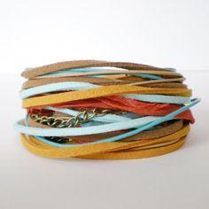leather & suede wrap bracelet, silk ribbon, suede, orange, turquoise, rocker, triple wrap