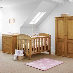 Boori Nursery Furniture in Heritage Teak. Boori Madison 3 in 1 Cot, 4 Drawer Chest with Madison Pelmet and Change Tray & Boori Waredrobe