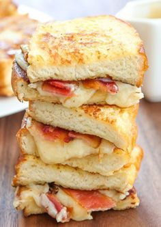 Feeling frisky? Try this French toast grilled cheese sandwich with crispy bacon.