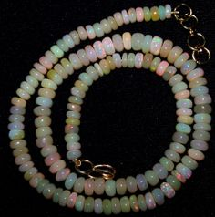 66Ct Multi Color Rainbow Fire Ethiopian Welo Opal 5-6 MM Beads AAA Necklace 16 ""