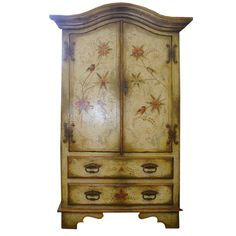 Armoires/wardrobes Forceful Shabby Chic French Glass Armoire/cabinet Antiques
