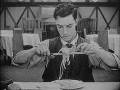 Buster Keaton finds a more efficient way to eat spaghetti