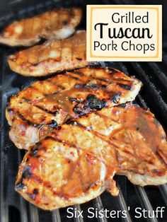 Grilled Tuscan Pork Chops- absolutely delicious! Simple ingredients make an amazing marinade. SixSistersStuff.com #porkchops #grill #recipe