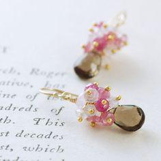 Gold Gemstone Earrings, Pink Sapphire Moonstone Smoky Quartz Dangle Earrings, aubepine on Etsy, $59.00