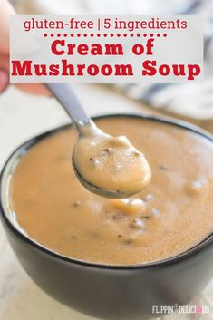 Gluten Free Cream of Mushroom Soup is easy to make and tastes better than a can. Great gluten free substitute for condensed cream of mushroom soup! Gluten Free Recipes For Dinner, Allergy Free Recipes, Gf Recipes, Dinner Recipes, Healthy Recipes, Creamed Mushrooms, Stuffed Mushrooms, Gluten Free Gravy, Gluten Free Roux Recipe