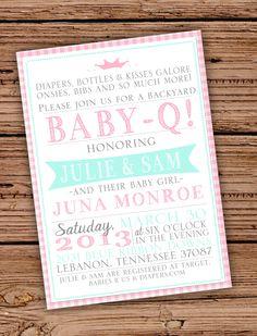 Baby Girl Shower Invitation BabyQ by JulsNewbrough on Etsy