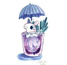 A cute little unicorn in the rain