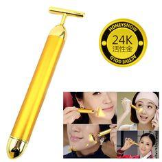 Slimming Face 24k Gold Vibration Facial Beauty Roller Massager Stick Lift Skin Tightening Wrinkle Stick Bar Face Skin Care