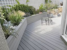 terrasse bois composite et galets . Small Backyard Landscaping, Backyard Garden Design, Small Garden Design, Garden Landscape Design, Terrace Garden, Back Gardens, Small Gardens, Outdoor Gardens, Composite Decking