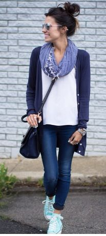 Blue cardigan whit top layers knit scarf blue scarf jeans fall