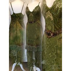 Boho Dress Olive Green Vintage Inspired Dress Green Victorian Look... ($272) ❤ liked on Polyvore featuring dresses, dark olive, women's clothing, birthday party dresses, green christmas dress, green party dress, army green dress and birthday dresses