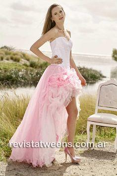 7d6e6c81bf Romántico vestido de 15 años rosa corto adelante y largo atras para  quinceañeras modernas