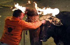 Folião solta touro com chifres em chamas em festival em Gilet, próximo à cidade espanhola de Valência, na madrugada de domingo (15) (Foto: Alberto Saiz/AP)