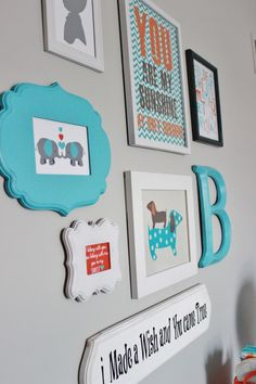 Project Nursery - Gray Striped Orange and Aqua Nursery Gallery Wall