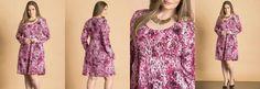 Vestido Evasê Estampado Rosa Plus Size