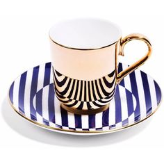 Richard Brendon - Richard Brendon Meets Patternity - Warp Gold... ($130) ❤ liked on Polyvore featuring home, kitchen & dining, dinnerware, gold china set, handmade dinnerware, gold dinnerware, pattern plates and patterned dinnerware