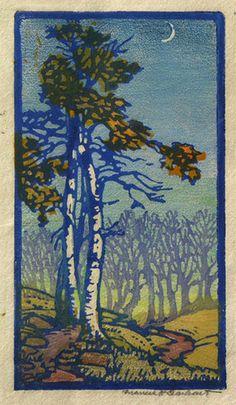 JMW Gallery - Arts & Crafts era prints and paintings- Frances Gearhart block print Woodcut Art, Linocut Prints, Art Prints, Art And Craft Design, Art For Art Sake, Art Graphique, Woodblock Print, Tree Art, Landscape Art