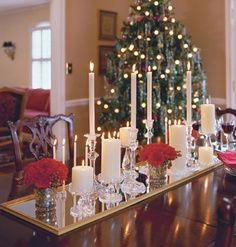Christmas table decoration.  What a great idea for any occasion. :)