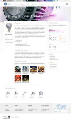 GE Lighting EMEA Website by Peter 'rozmy' Polgar, via Behance