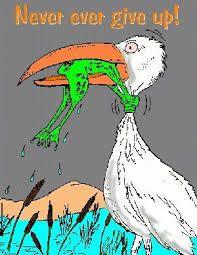 Znalezione obrazy dla zapytania grafika bocian i żaba never give up