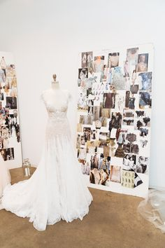 Marchesa's studio is a bride-to-be's dream—wedding dresses, floor length embellished veils, and walls of shoes and glittering jewelry.