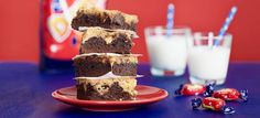 Chocolaty brownie and cookie dough teamed with Dumle sweets. The fudgy Dumle brookie will satisfy even the sweetest tooth! Danish Dessert, Brookies, Something Sweet, Sweet Desserts, Cake Cookies, Cookie Dough, Cake Recipes, Sweet Tooth, Cheesecake