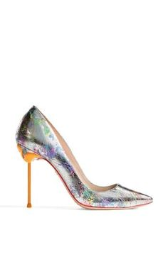 Love the yellow heel and the splattered rainbow print on this Sophia Webster pump.