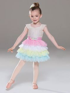 NEW! 2017 Collection Ballet Costume: Spandex leotard with embroidered lace overlay has cap sleeves and attached satin ribbon with petal details. Attached skirt is organdy under layers of petal-cut mesh in alternating colors.  Includes head-piece, bobby pins, hanger and garment bag.